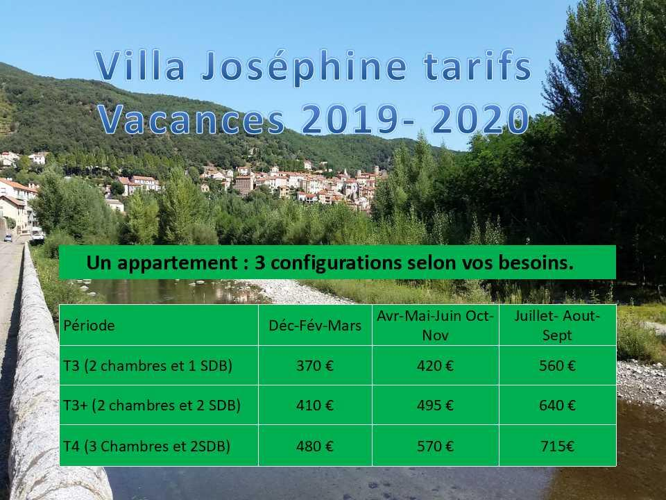 Tarifs 2019 2020 vacances